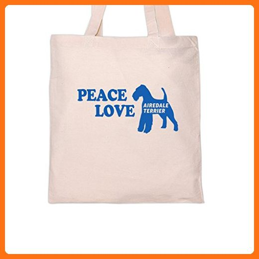 PEACE LOVE AIREDALE TERRIER Dog DogsTote Bag Totes
