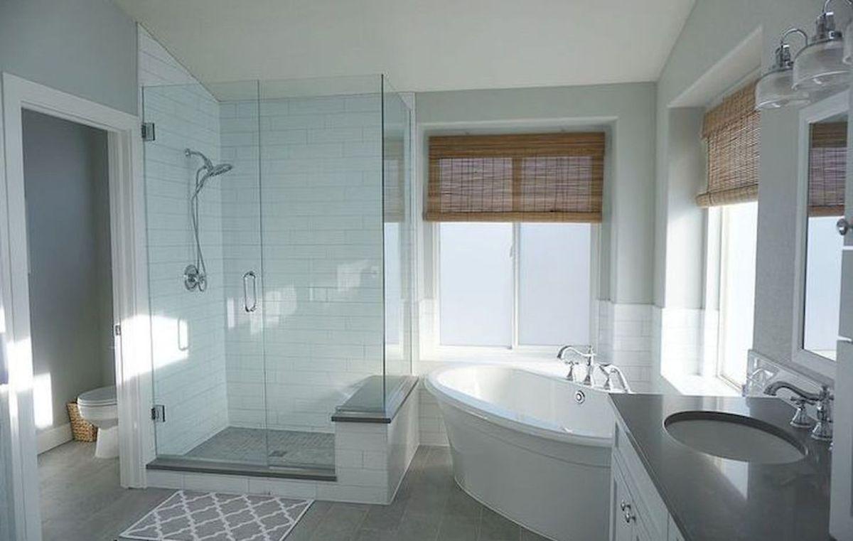Farmhouse master bathroom decor ideas (21   Shower seat, Master ...