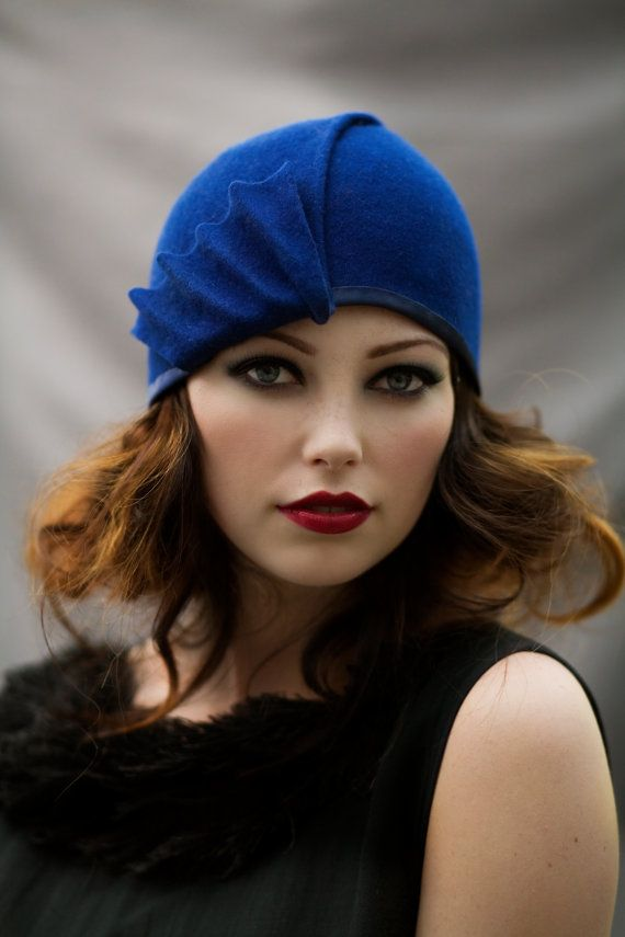 Items similar to blue hat with black bow-made to order on Etsy