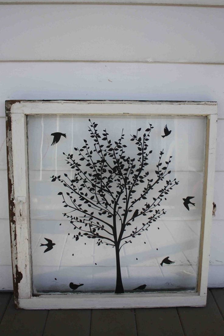Window pane ideas  great idea for vinyl on an old window  art projects i want to do