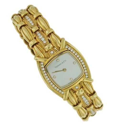 18k Yellow Gold Ladies Tiffany and Co Watch with Diamonds and Mother of Pearl Diamond Dial from Baer & Bosch Auctioneers