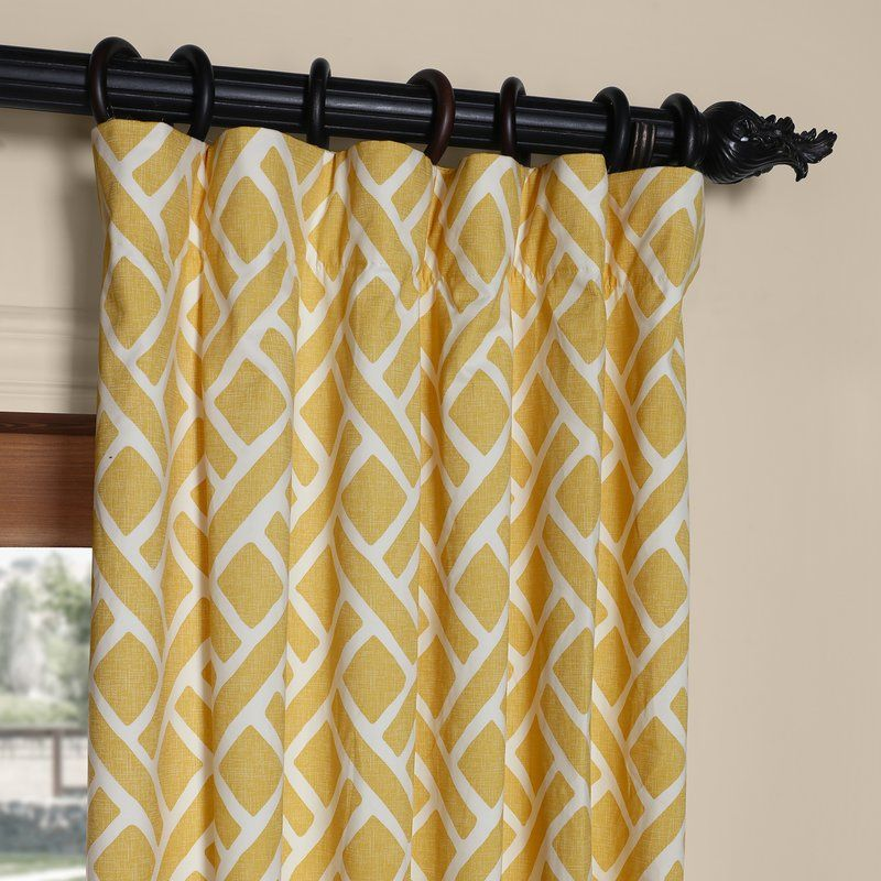 Berumen Geometric Room Darkening Rod Pocket Single Curtain Panel Panel Curtains Printed Cotton Curtain Curtains