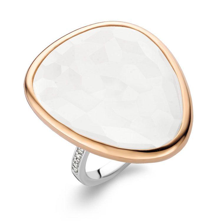 Ti Sento Milano Ring aus 925 Sterlingsilber mit einem weißen Stein und Zirkonia  - 12002WM