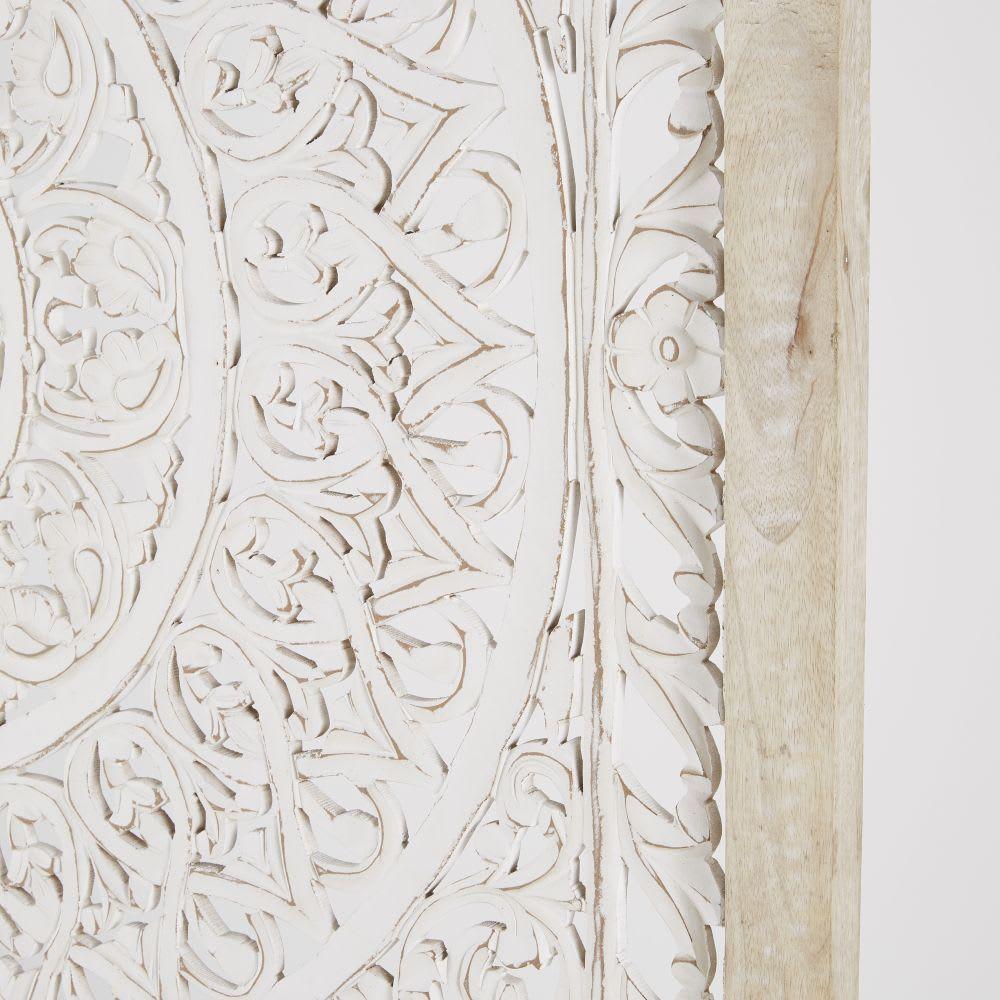 Wanddeko Aus Mangoholz Mit Geschnitztem Mandala Motiv Weiss