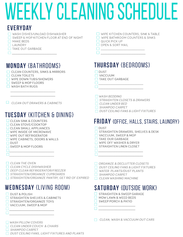graphic relating to Cleaning List Printable named 7 Wonderful Printable Cleansing Schedules Cleansing Cleansing