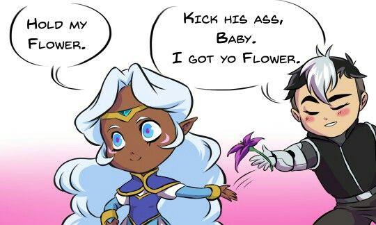 VLD fanart - Allura and Shiro Hold her flower Shiro, she gunna kick butt!