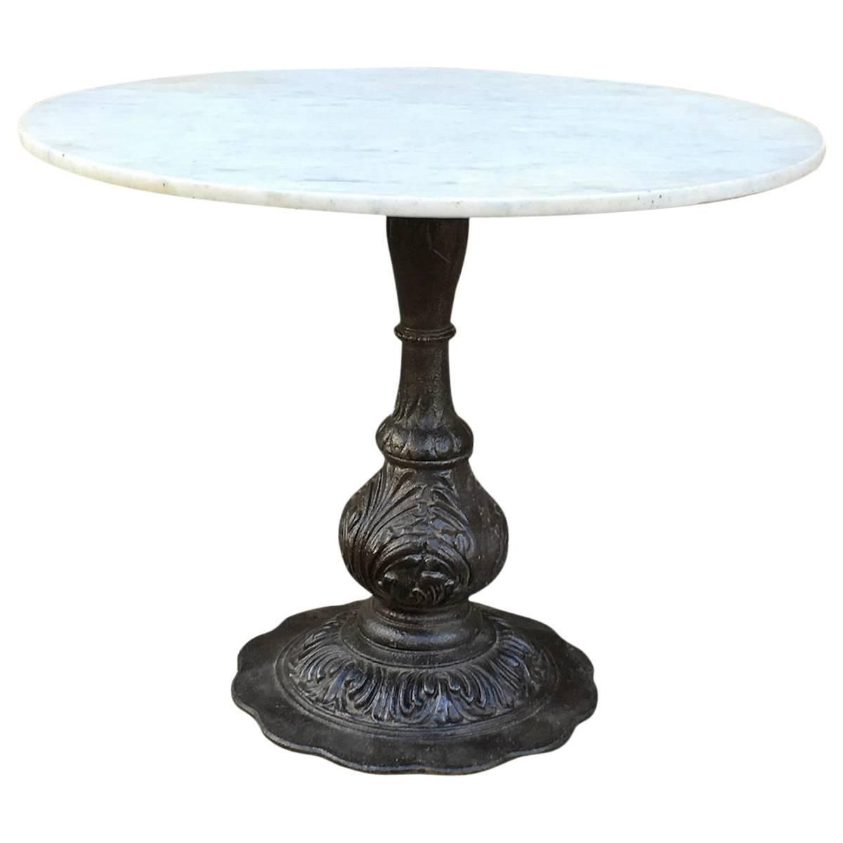 Marble Dining Table With Ornate Cast Iron Base 1