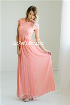 Pink Coral Lace Sequin Modest Bridesmaids  b6327cd21fe3