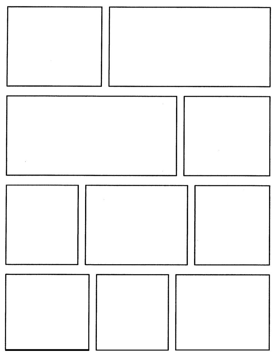 Comic Book Writing Layout Pages Strip Template