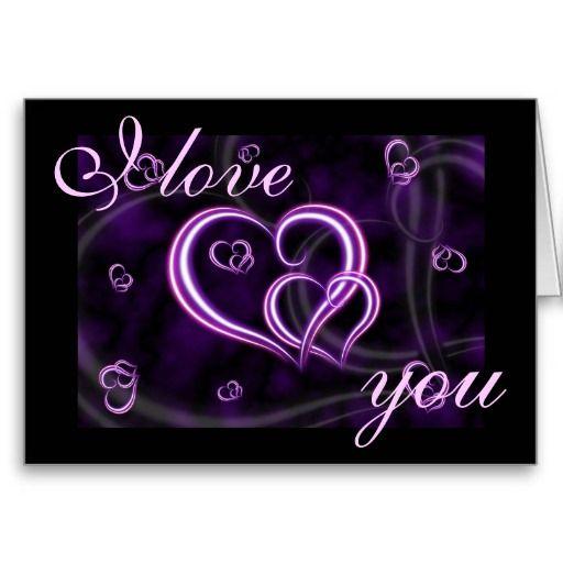 Valentine's Day Purple Hearts I LOVE YOU Holiday Card | Zazzle.com