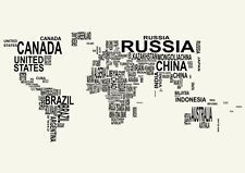 """World Map Watercolor Style Printing Art Home Decor Thin Silk Poster 46/"""" x 32/"""""""