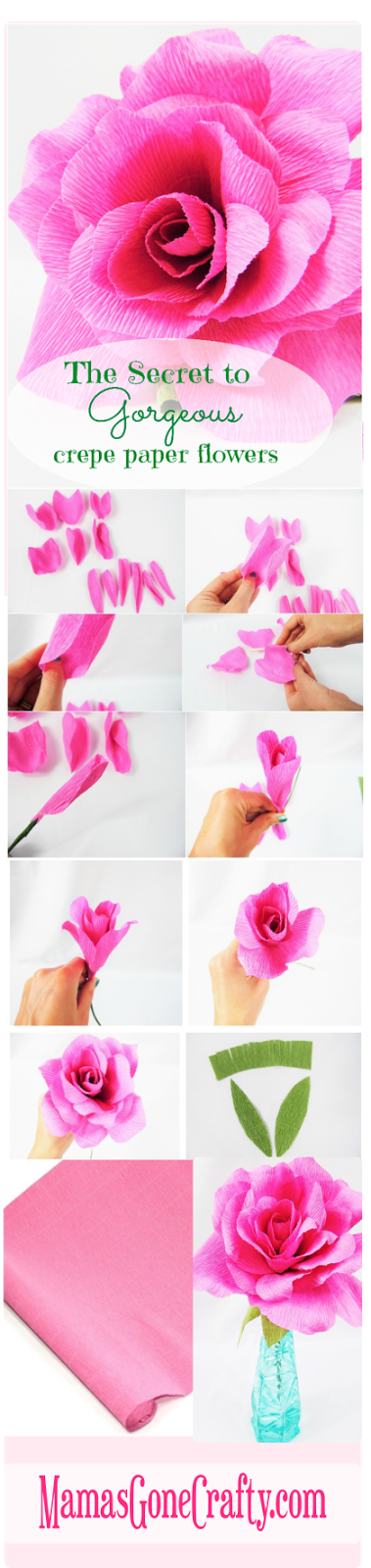 The secret to perfect crepe paper flowers crepe paper roses crepe how to make crepe paper flowers crepe paper roses templates and tutorial mightylinksfo