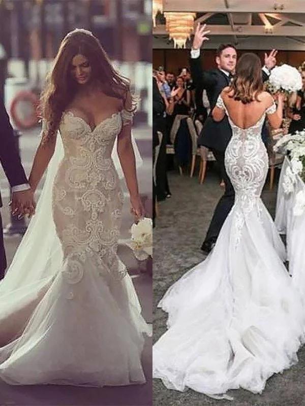 Off The Shoulder Mermaid Wedding Dresses Vintage Lace