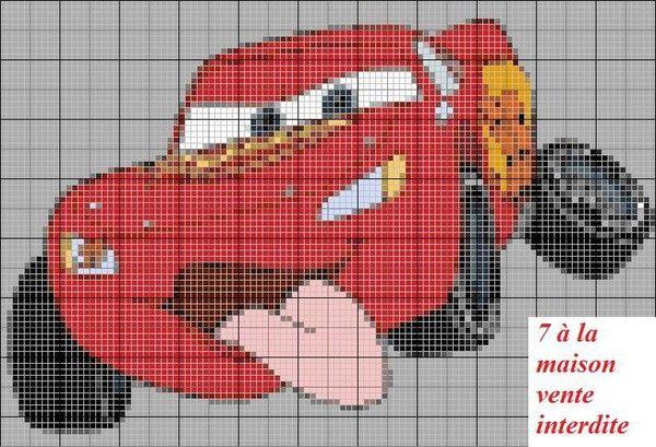 Grille gratuite de point de croix cars pinteres - Broderie point compte grille gratuite ...