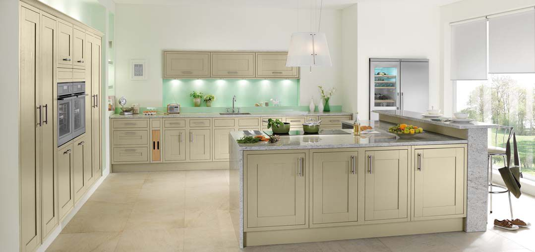 Showroom collection modern kitchens traditional for Sage green kitchen ideas