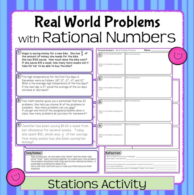 Rational Number RealWorld Word Problems  Stations Activity Ns