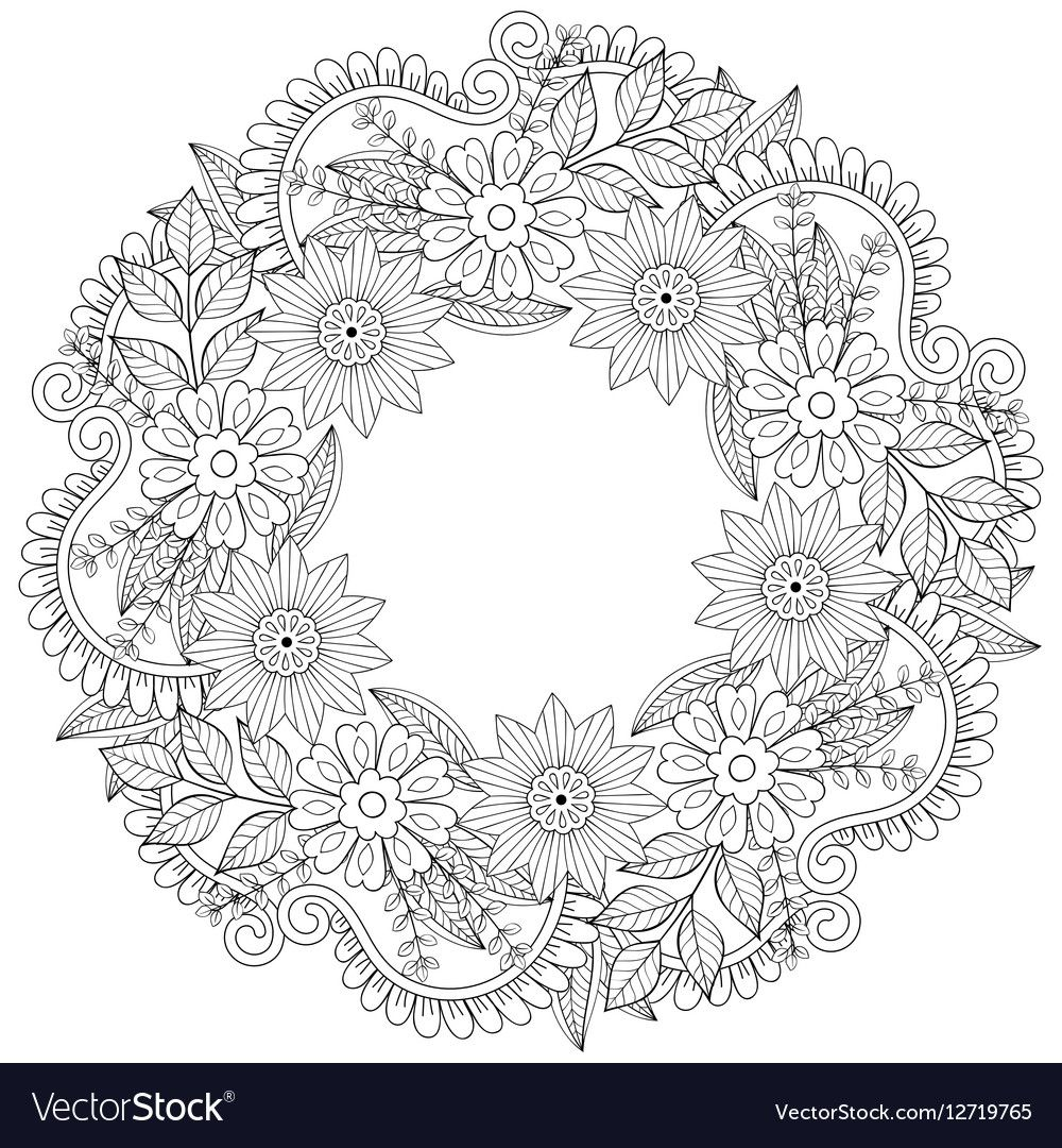 Photo of Floral doodle wreath in zentangle style. Vector circular frame made of flowers. P …