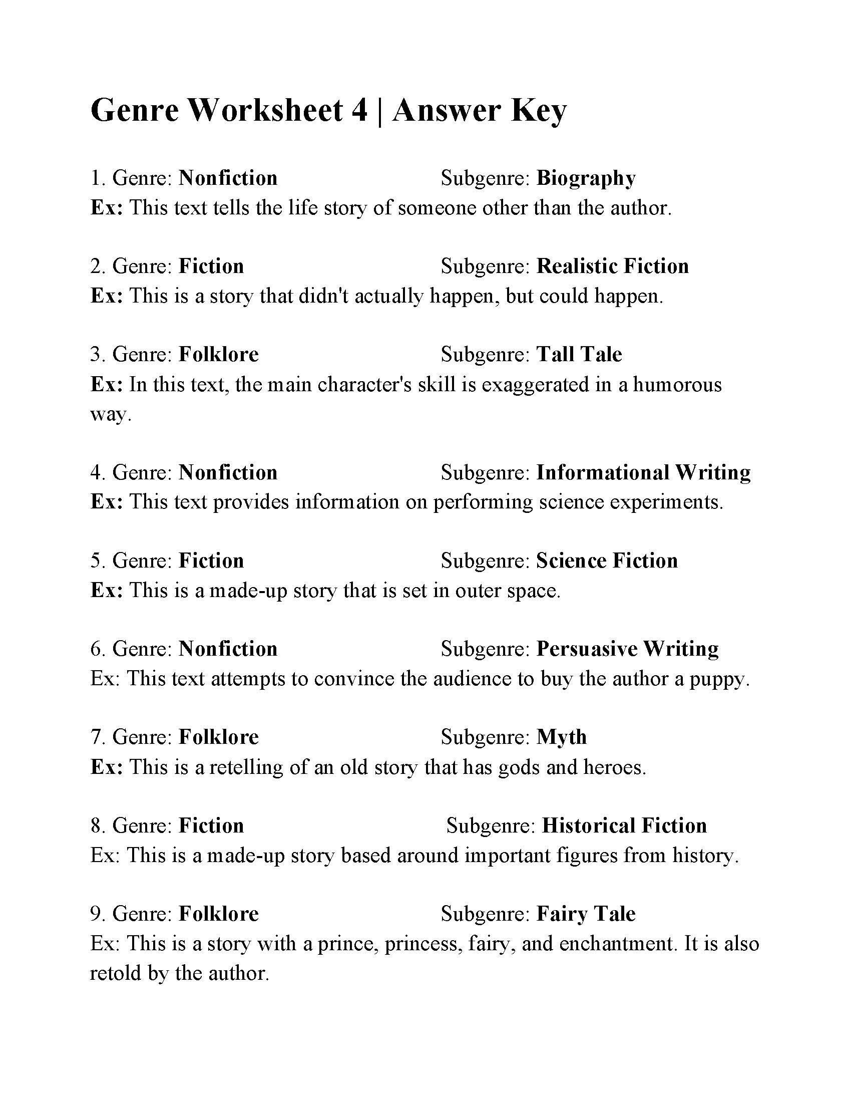 Genre Worksheets 3rd Grade Genre And Subgenre Worksheet 6