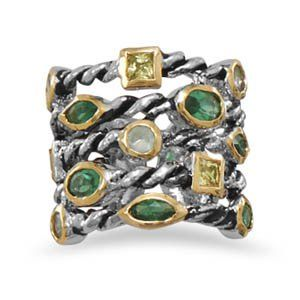 Two Tone Brass Ring with Green and Yellow CZs