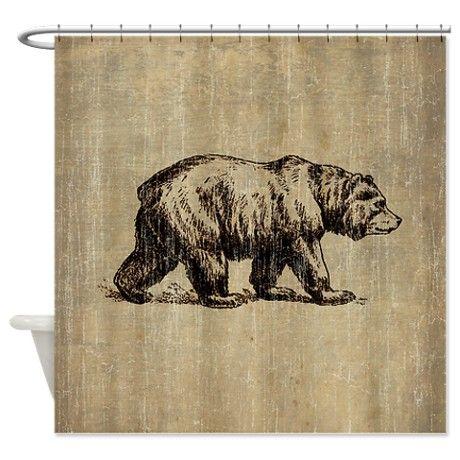 Vintage Bear Shower Curtain By Teyes Bear Bathroom Decor