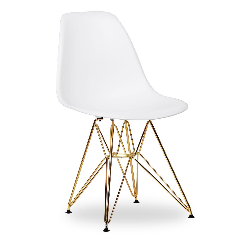 Stuhl TOWER weiß mit gold glänzenden BEINEN