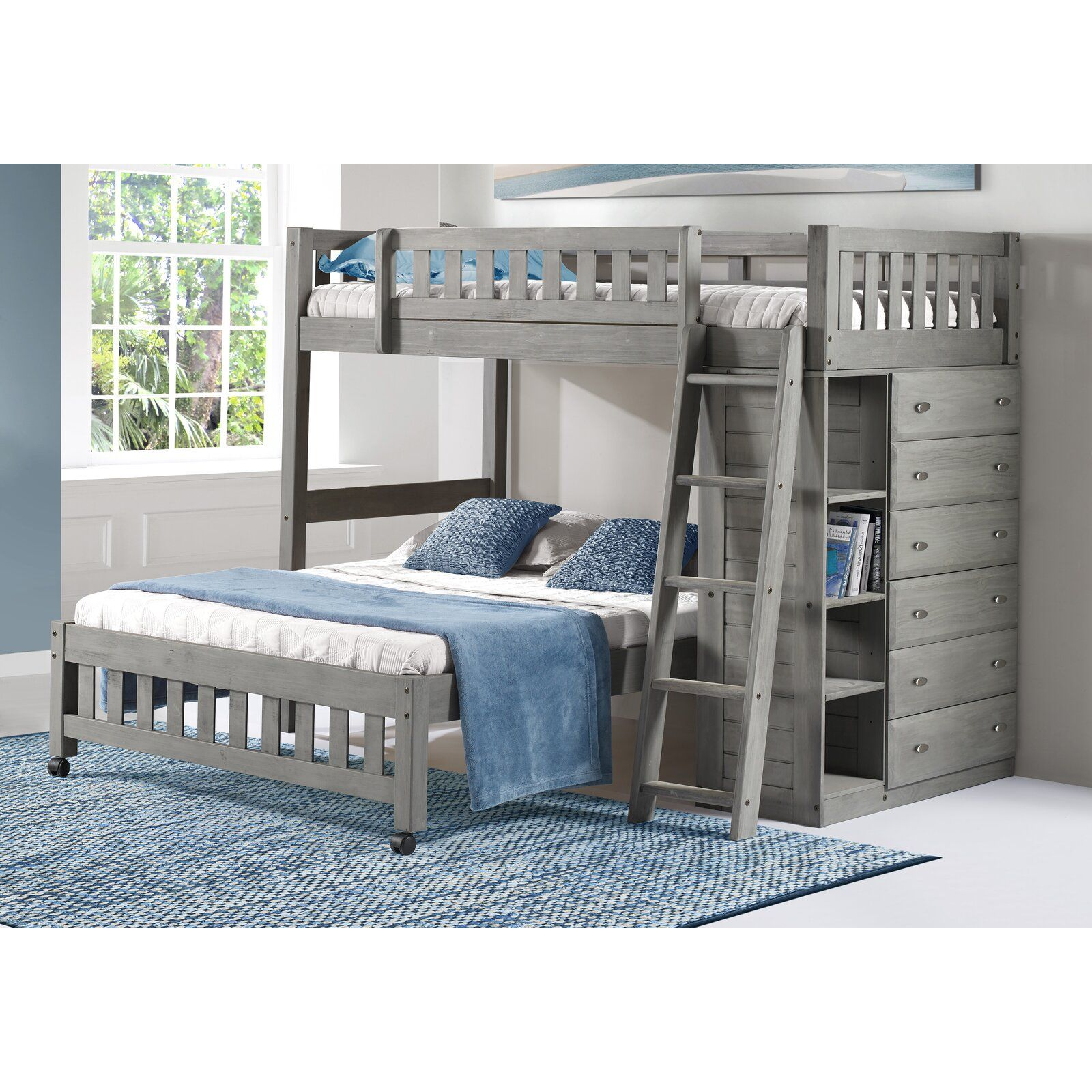Orval Twin Over Full L Shaped Bunk Bed With Drawers And Shelves