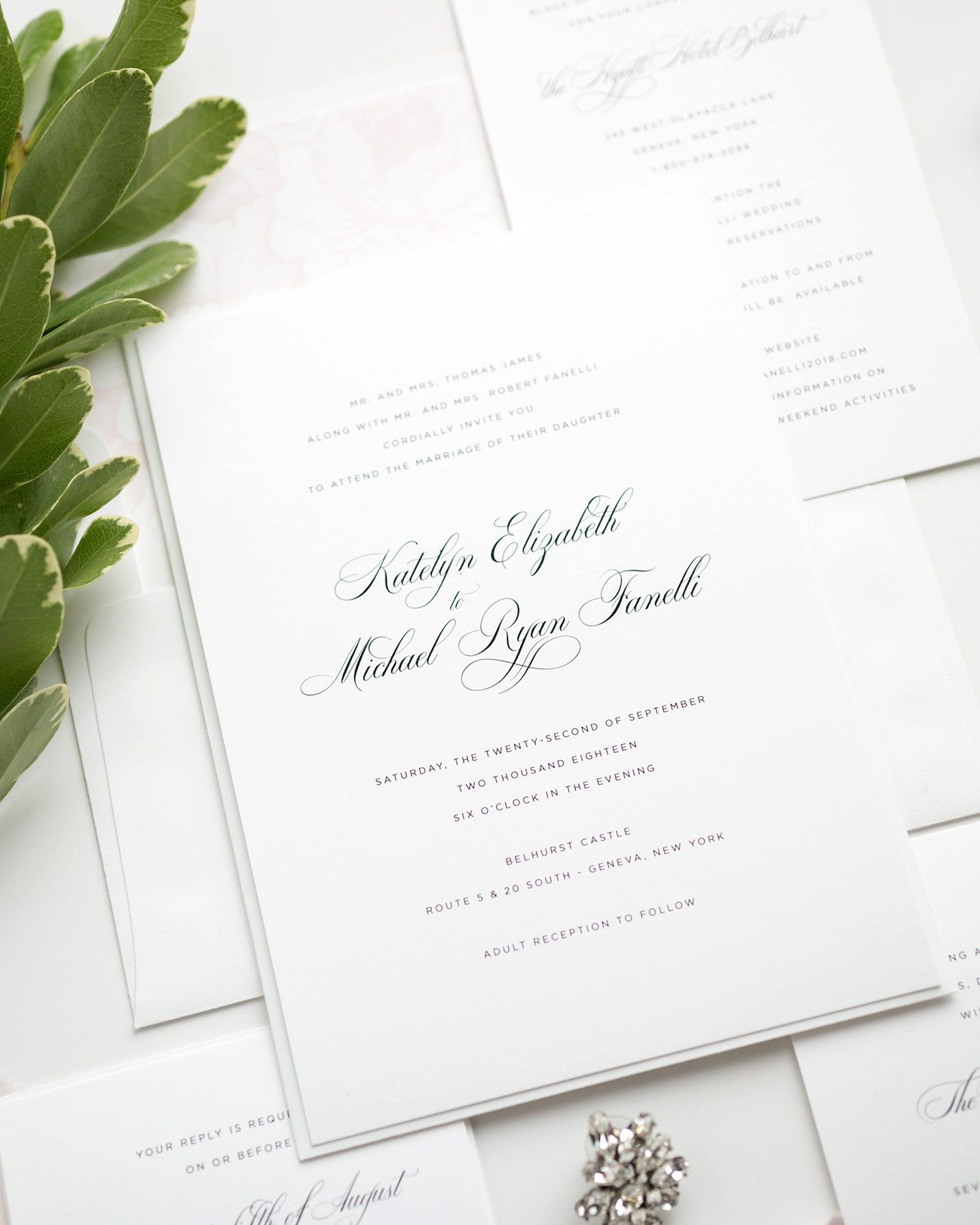 Elegant Wedding Invitations In Light Pink