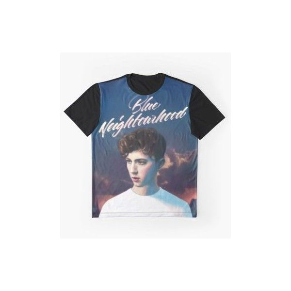 BLUE NEIGHBOURHOOD TROYE SIVAN 2 ❤ liked on Polyvore featuring fitted tops, graphic tops, v-neck tops, galaxy top and relaxed fit tops