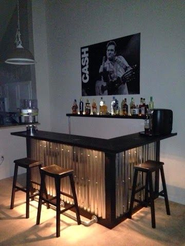Corrugated Steel Sheets To Add An Industrial Feel To This Home Bar