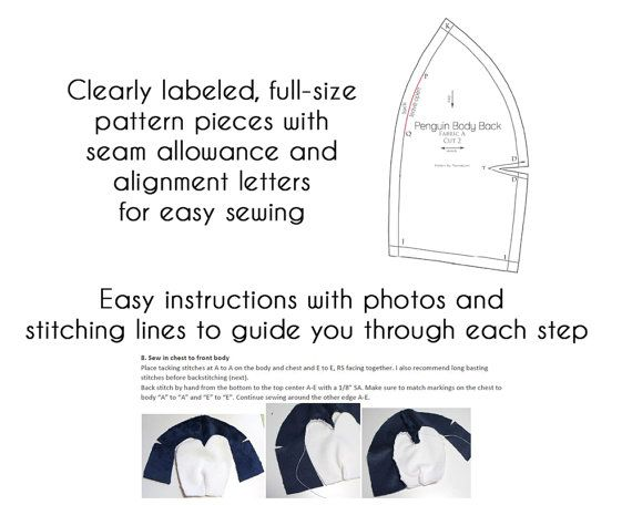 Printable sewing pattern & instructions to make cute Penguin stuffed ...