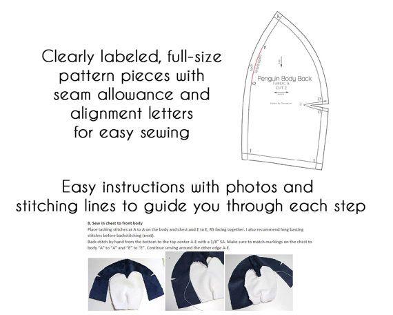 PDF sewing pattern - Penguin stuffed animal - easy kawaii cute anime ...
