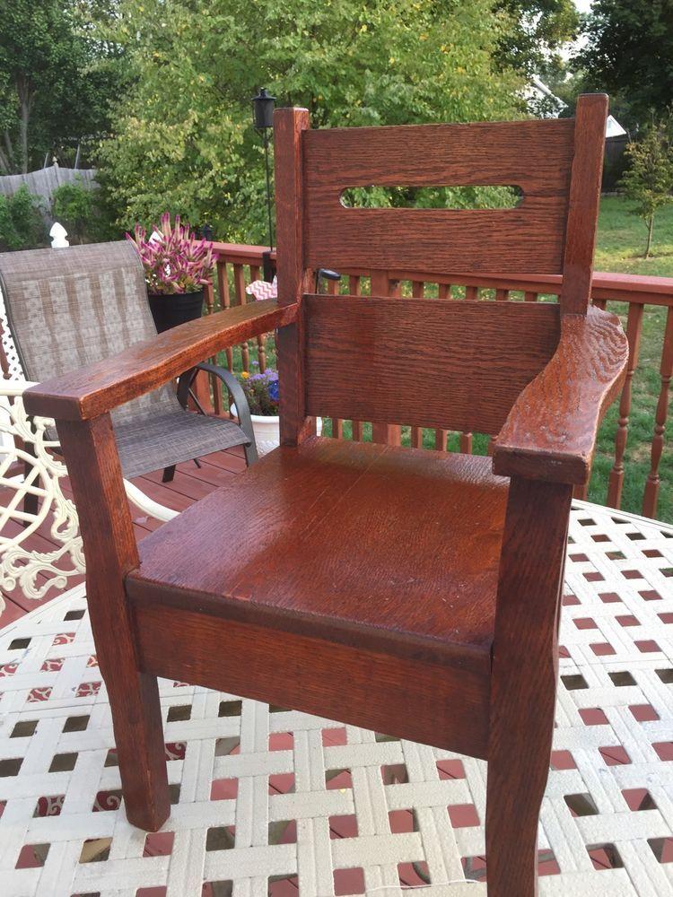 Antique Stickley Era Mission Arts Crafts Solid Oak Childs Chair Ebay