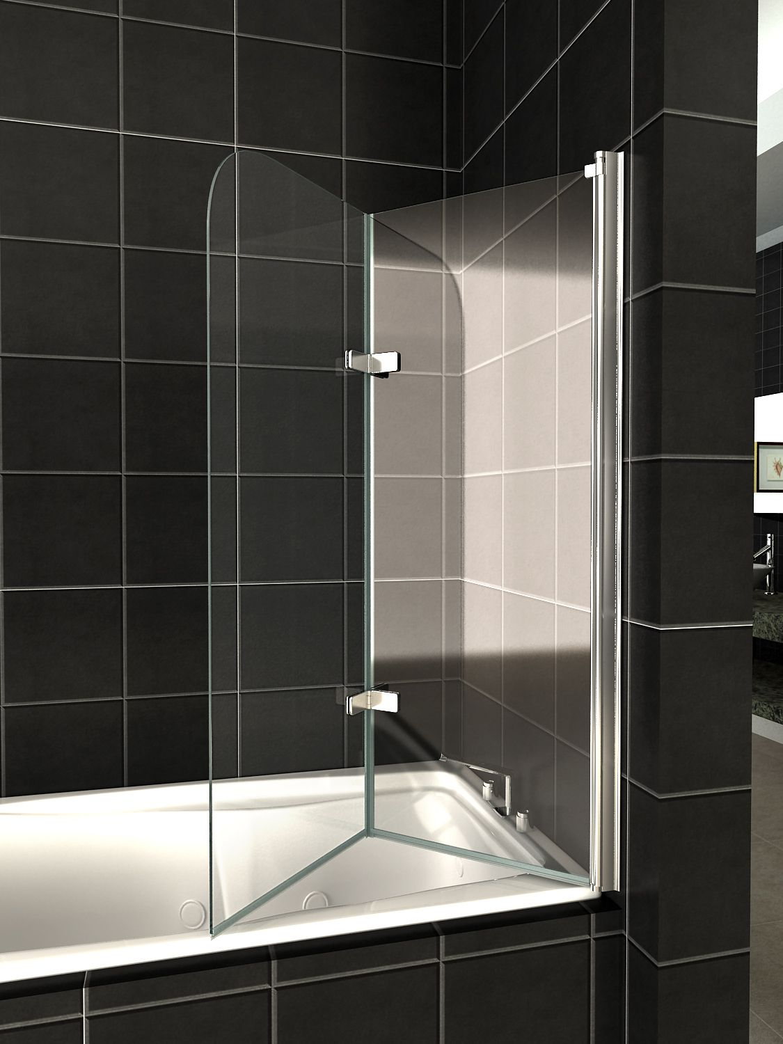 Shower Screen Over Bath 180° pivot glass over bath 2 fold folding shower screen bath door