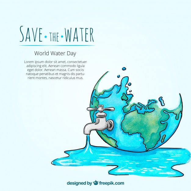Download Watercolor Water World Day Background With Hand Drawn Tap