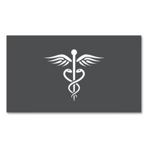 Modern Stylish Gray Medical Doctor Caduceus Business Card Template