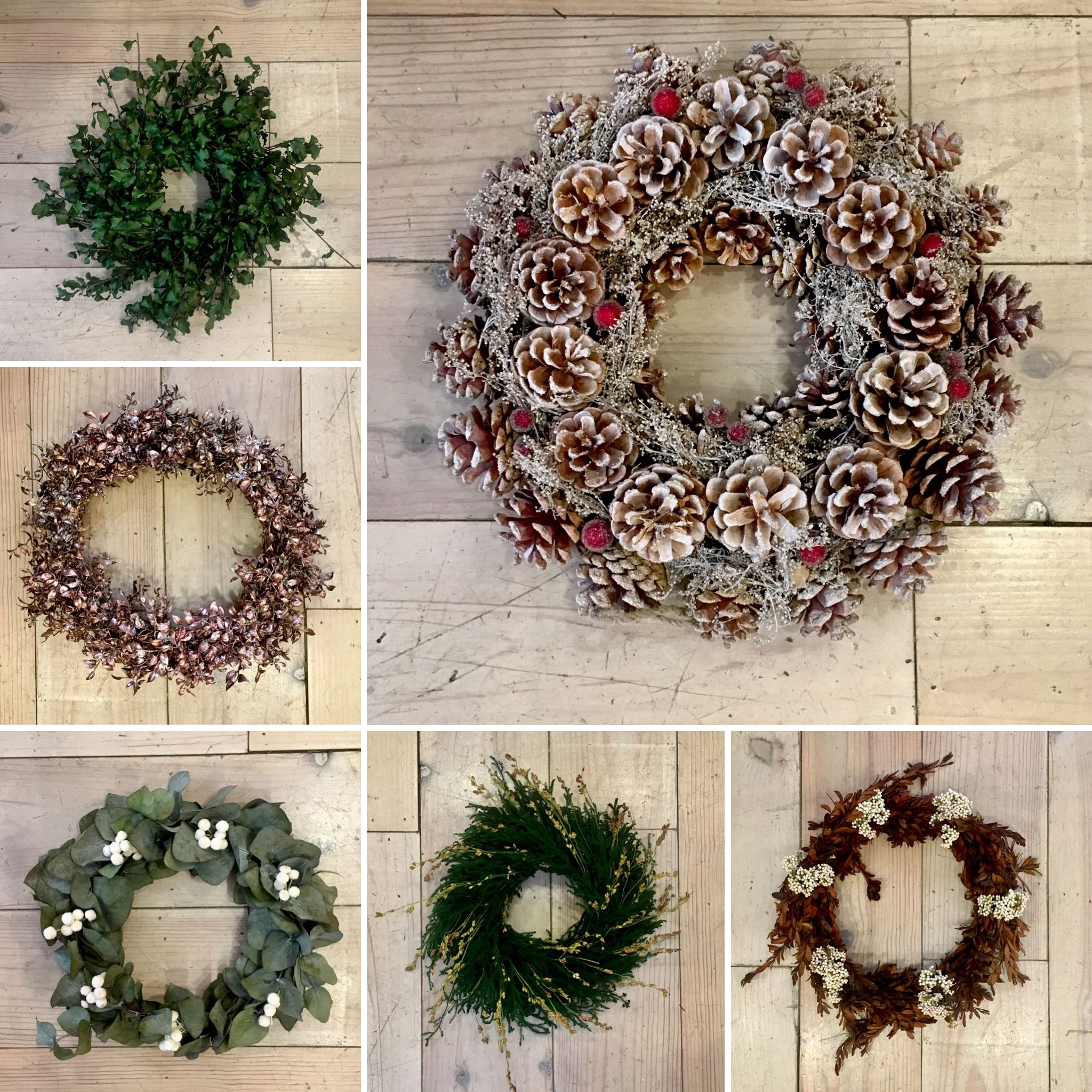 Coronas De Navidad Hechas A Mano Con Flores Y Frutos Naturales Coronas De Navidad De Eucalipto Pino Piña Coronas De Navidad Flores Secas Navidad Hecha A Mano