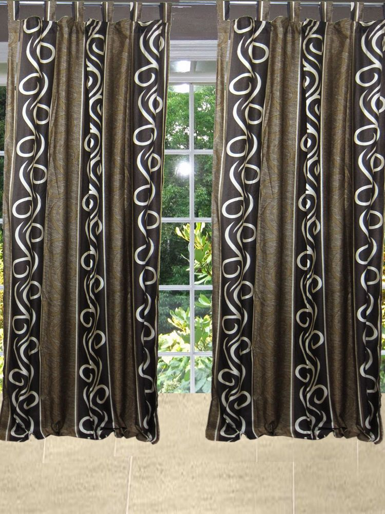 Indian Curtain Window Panel Brown Tab Top Living Room Home Decor Length 84