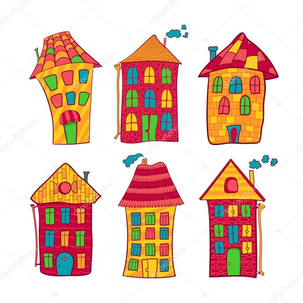 Set Coloridas Casas En Estilo De Dibujos Animados Ilustracion De
