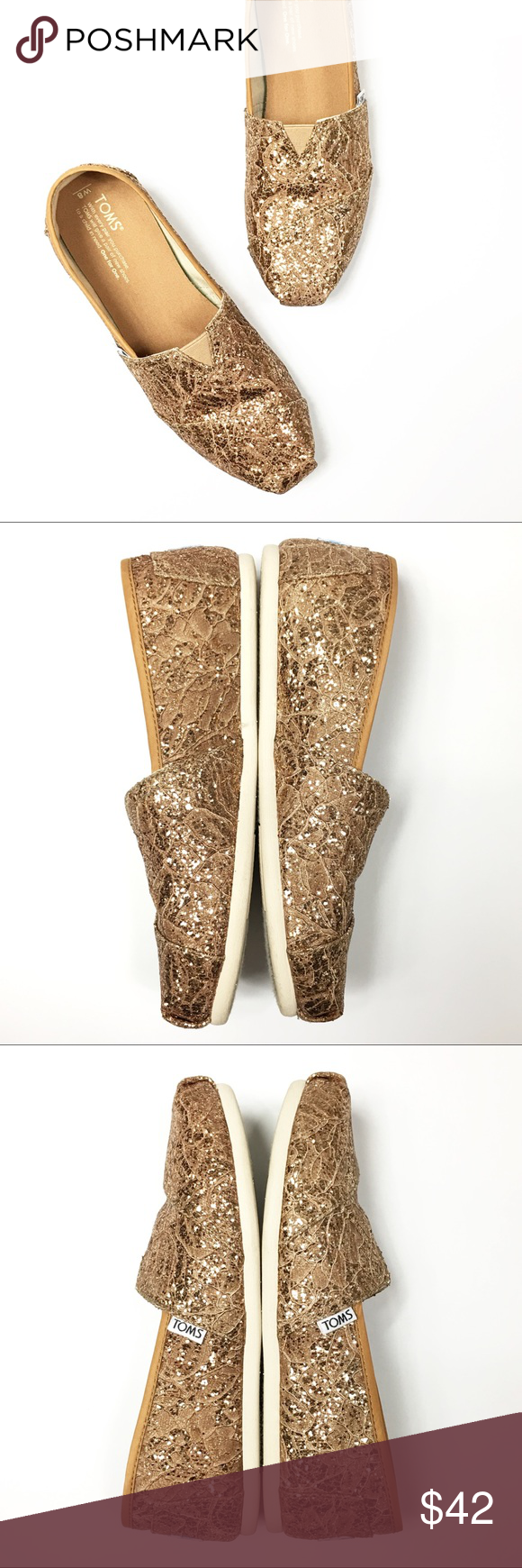 1bee975a67d Toms Classic Rose Gold Lace Glitz Slip On Shoes Style  classic slip on shoes  with