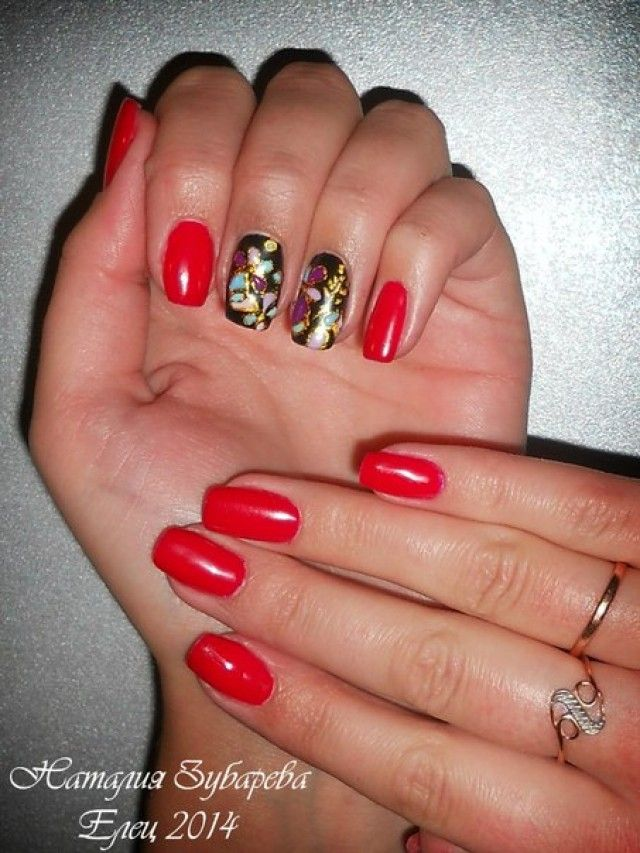 natalia aus eliz geln gel galerie sommer rot gold nageldesign bilder by world nails. Black Bedroom Furniture Sets. Home Design Ideas