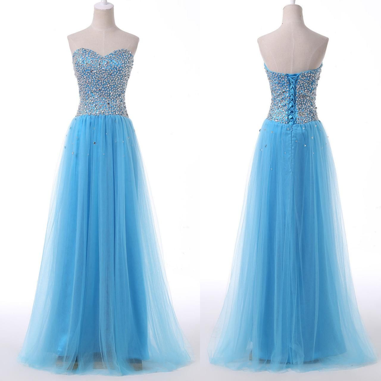 beautiful blue tulle sequins prom dress, #promdresses ...