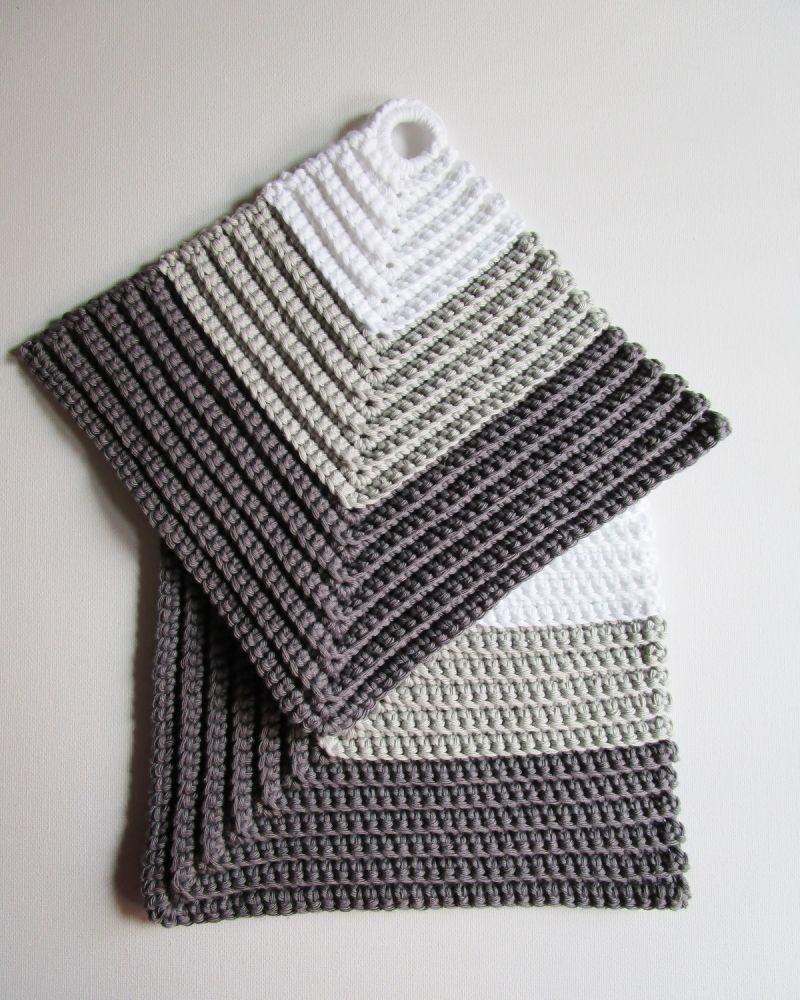 Photo of 1 Paar Topflappen 18 x 18 cm ☀ weiß / grau ☀ reine Baumwolle, gehäkelt von Miss_Iso