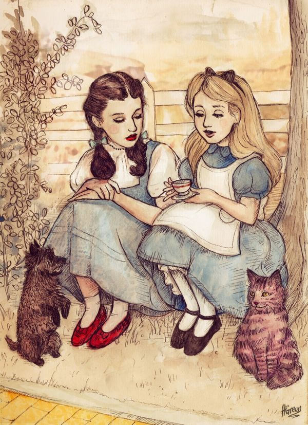 Alice and Dorothy--Framed this print for someone today. Now I want it, badly. So much better in person than this.