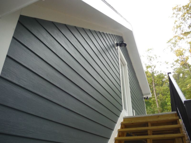 Side Of The House In Evening Blue James Hardie Siding House Paint Exterior House Exterior Hardie Board House