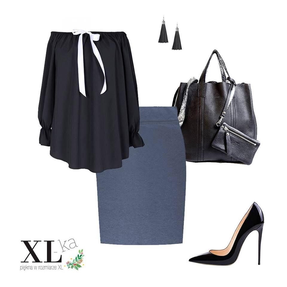 Czarna spódnica ołówkowa, moda xxl, ubrania dla puszystych