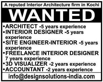 A Reputed Interior Aechitecture Firmin Kochi Wanted Architect Interior Designer Site Engineer Accoun Freelance Interior Designer Architect Architecture Firm