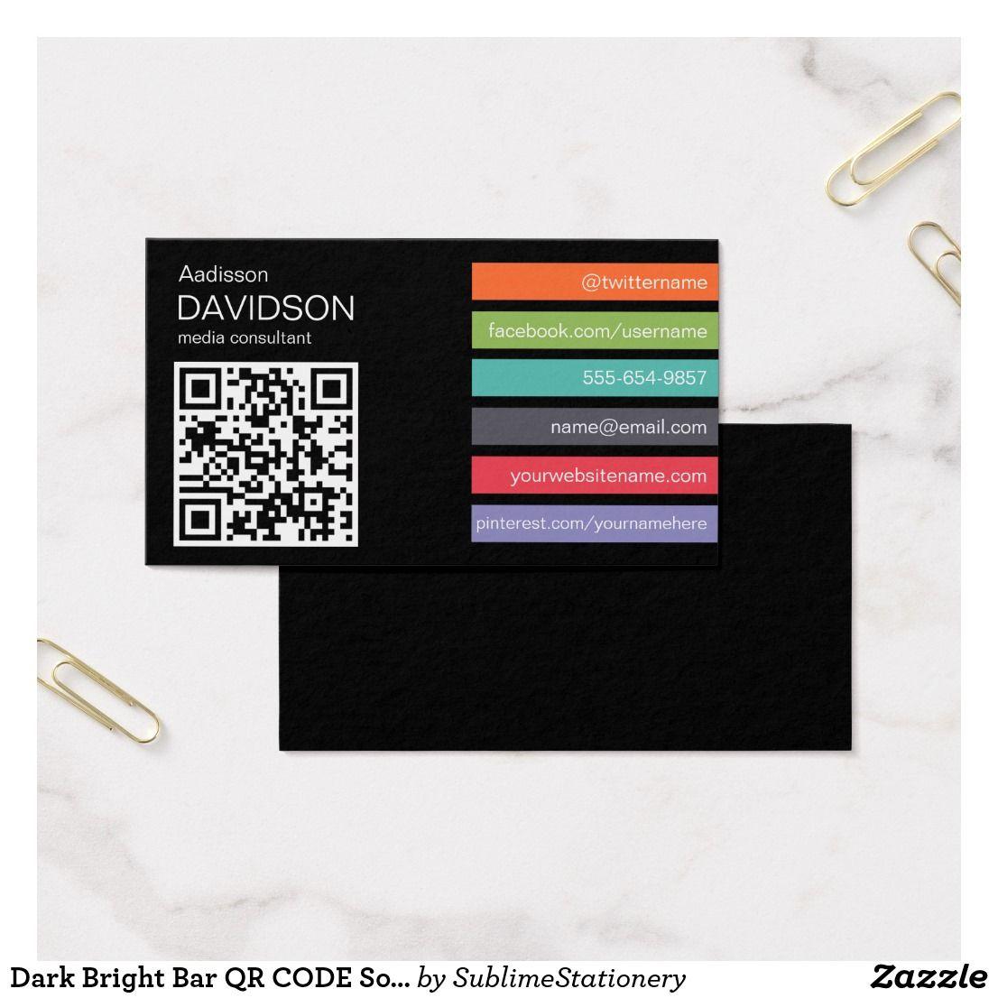 Dark Bright Bar QR CODE Social Media Business Card | Business Cards ...