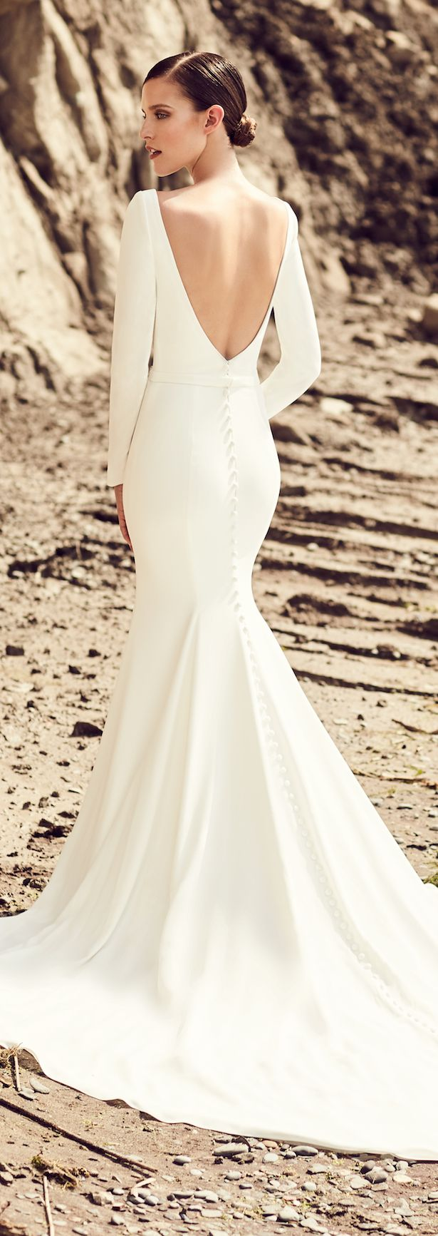Bateau White Satin Mermaid Wedding Dress With Long Sleeves And Open Back Cowl Back Wedding Dress Sleek Wedding Dress Wedding Dress Silhouette [ 1920 x 1280 Pixel ]
