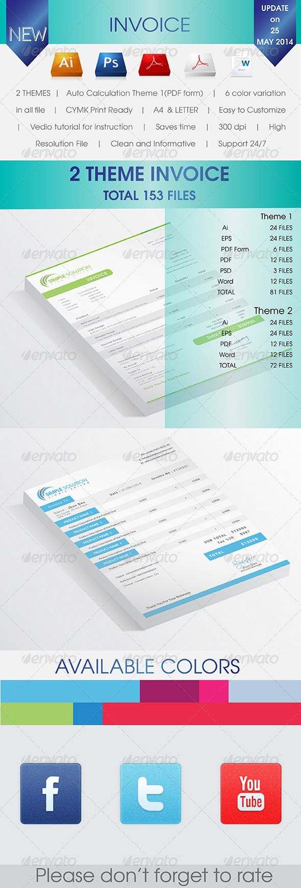 A A Invoice Black Blue Clean Creative Customizable Excel