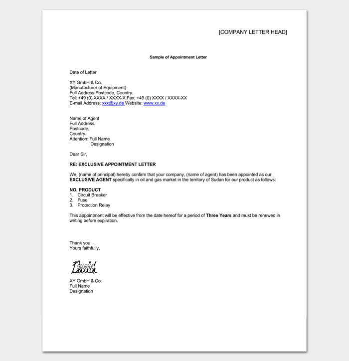 Agent Appointment Letter Sample  Letter Templates  Write Quick